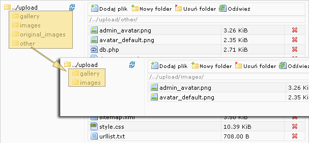 Zmiany w Mad File Manager for TinyMCE